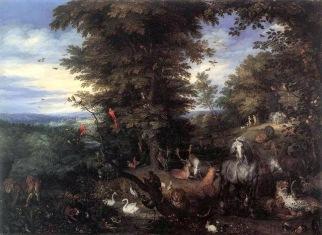 Adam & Eve in Garden of Eden. Jan the Elder Brueghel