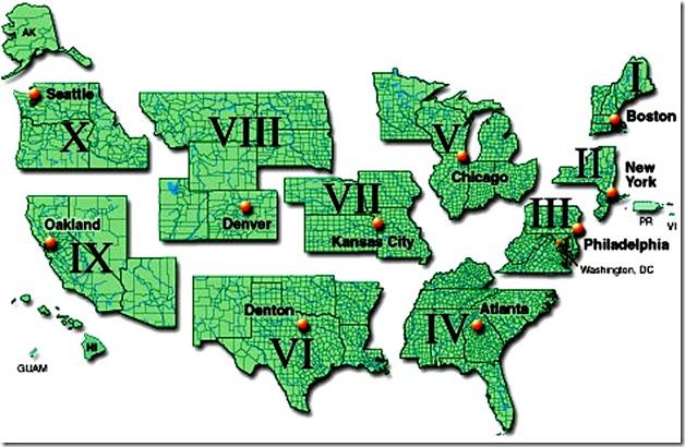 FEMA Regions Map