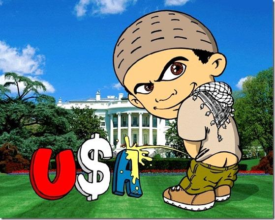 Muslim Kid wizzing on USA