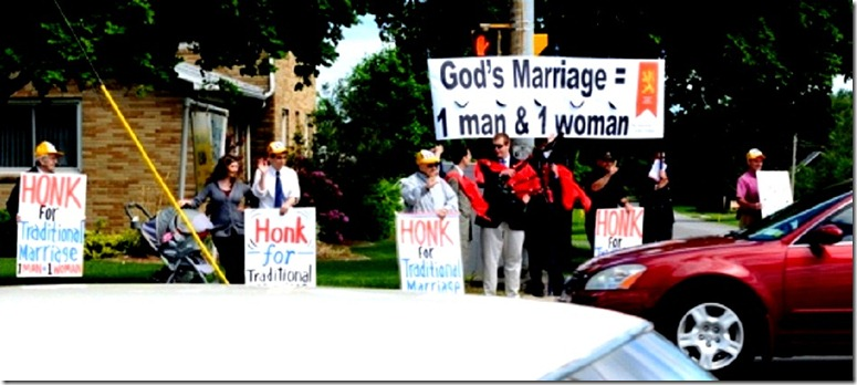 Protesting in favor Traditional Marriage