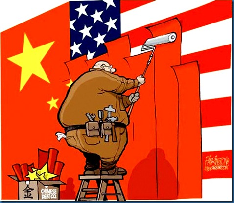 China Overlapping USA toon