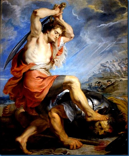 David Prepares Goliath Beheading. by Rubens