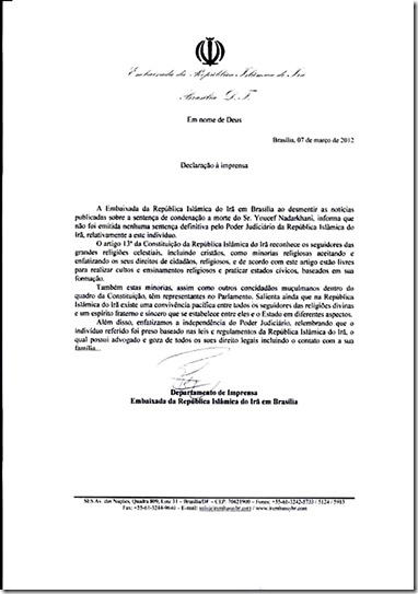 Portuguez trans-document-brazil about Nadarkhani
