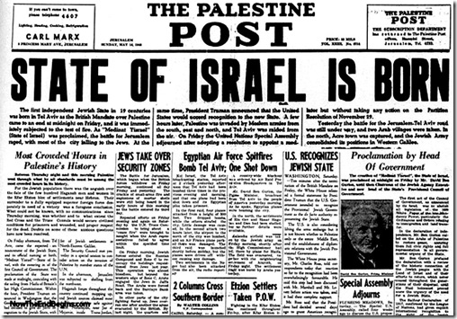 State of Israel Born byline