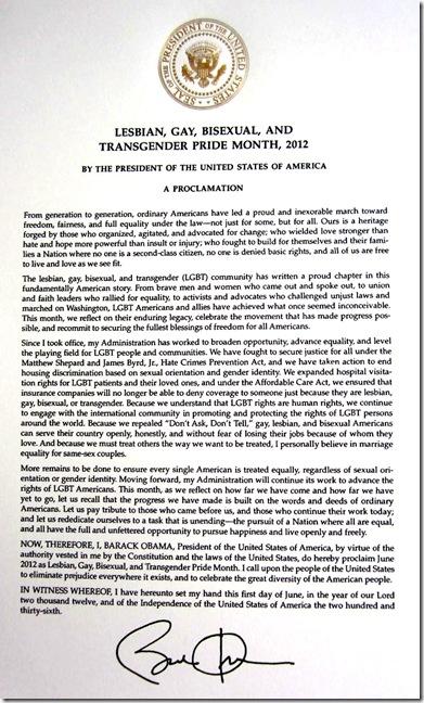 PresidentialProclamation for LGBT 6-2012