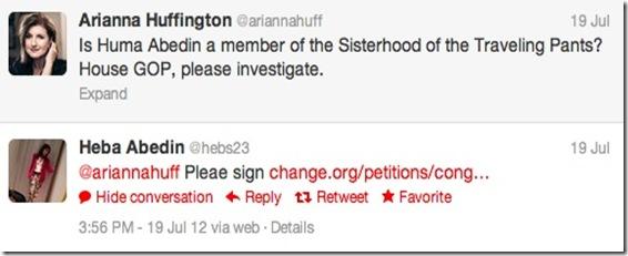 Heba-Arianna Huffington Tweets 7-19-12