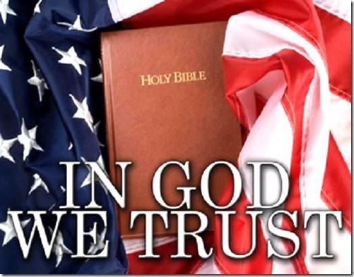 In God we Trust- Flag & Bible