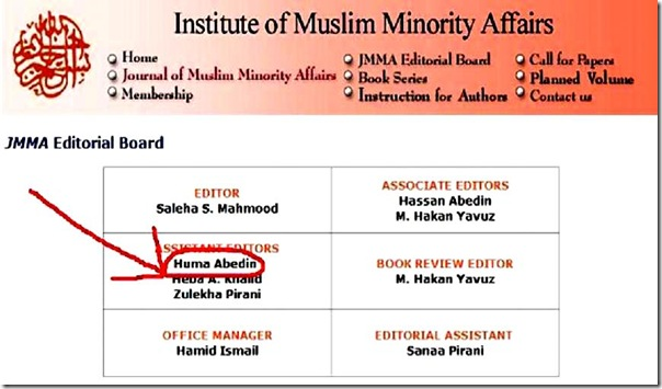 IMMA Editorial Board - Saleha and Huma Abedin