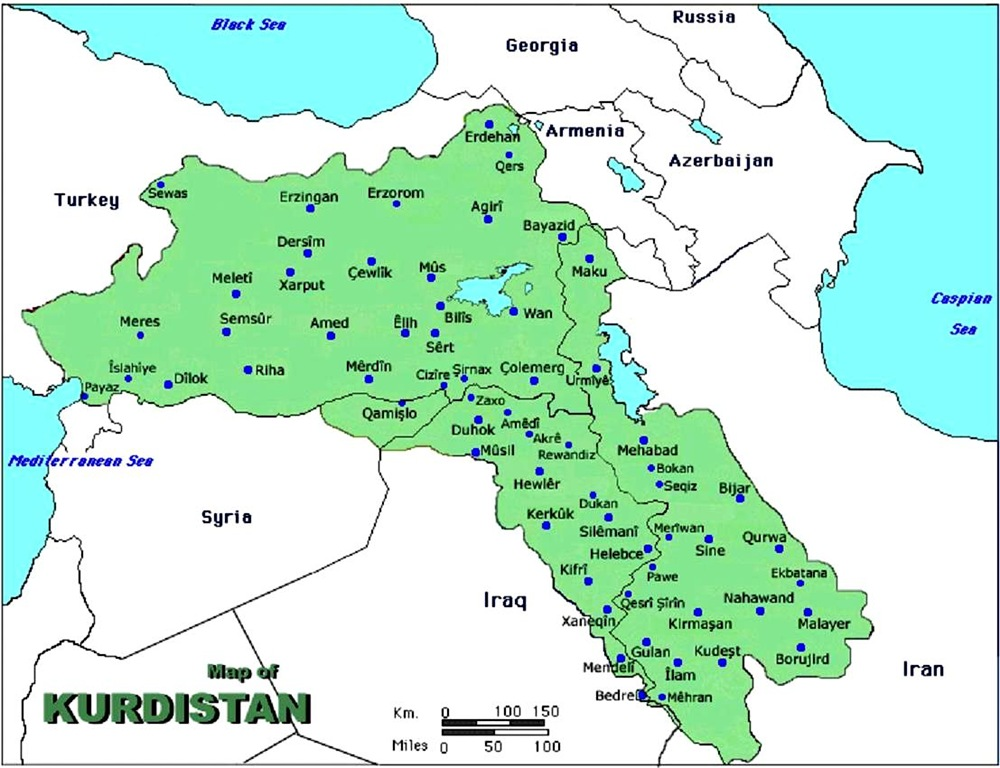 kurdistan map syria turkey iraq iran