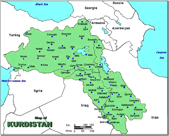 Kurdistan Map- Syria, Turkey, Iraq & Iran