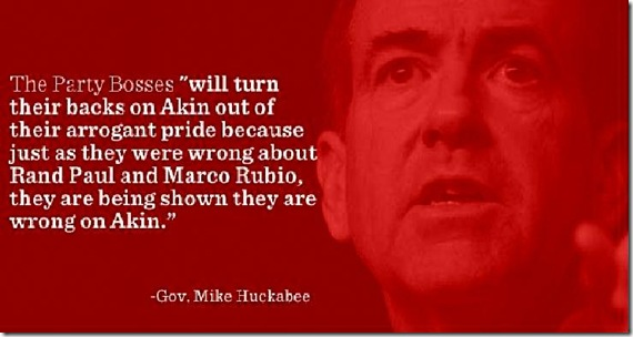 Huckabee Banner support for Todd Akin