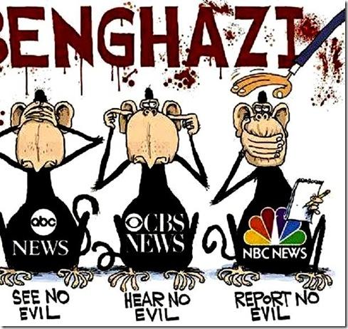 Benghazi MSM- See, Hear, Report No Evil toon
