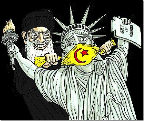 Muslim gags Lady Liberty