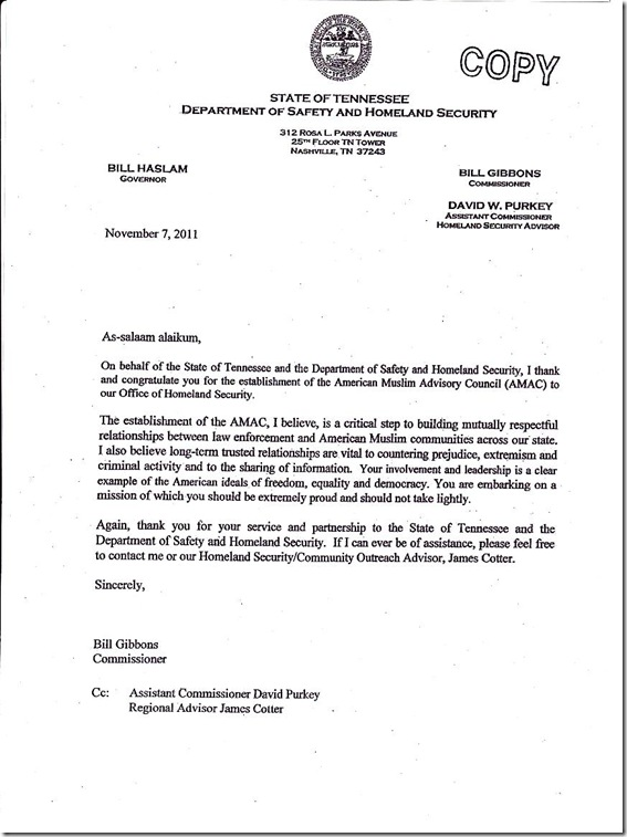 TN Dept of Safety & Homeland Security letter to Gov. Haslam 11-7-11