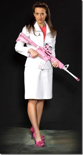 Ann Barnhardt pink semi-auto rifle