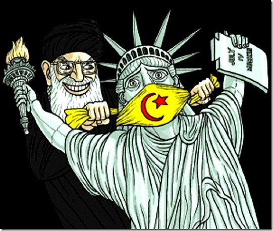 Muslim Cleric gags Lady Liberty