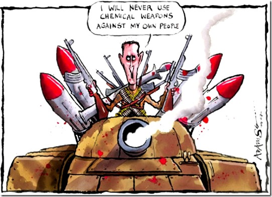 Bashar al-Assah lying about chem-weapons toon