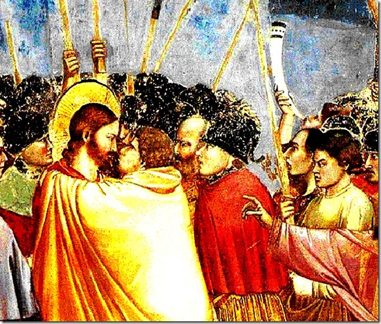 Judas kiss on Christ Jesus