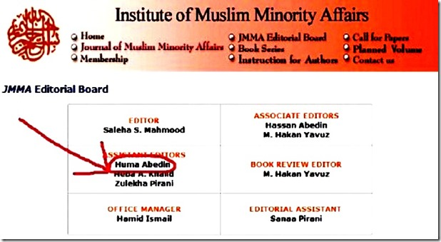 Instit. of Muslim Minorities Affairs Ed. Board - Huma Abedin