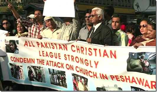 Protesting Islamic Terrorism over Peshawar Church bomb-homicide