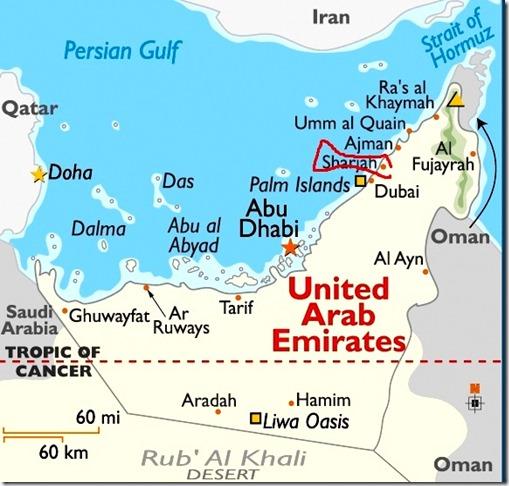 Sharjah circled, UAE 3