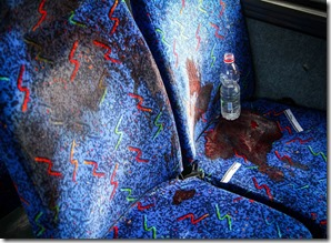A bloodstained bus seat where soldier Eden Atias