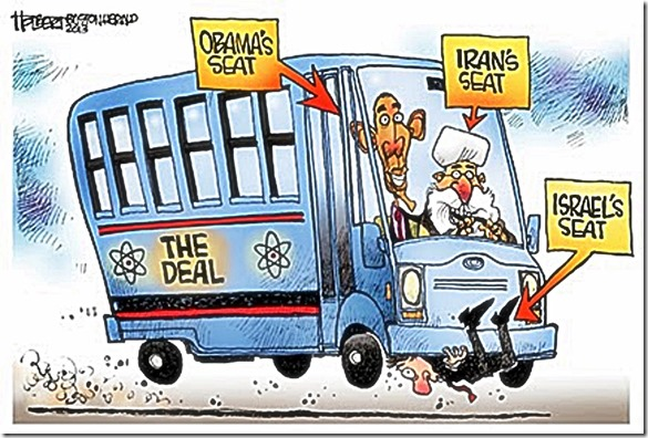 Obama-Iran Deal - Israel Under Bus toon