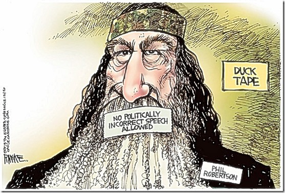 Phil Robertson Duck Taped Mouth toon. By Rick McKee 12-20-13
