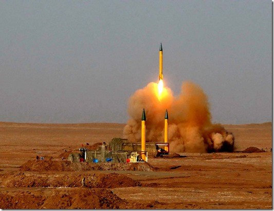 A surface-to-surface missile is launched during the Iranian Revolutionary Guards maneuver in an undisclosed location in Iran July 3.