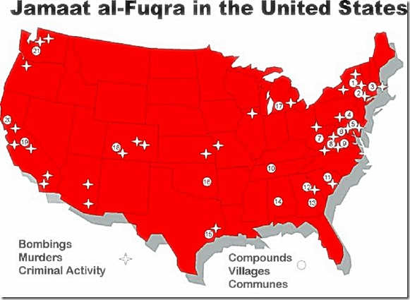Jamaat al-Fuqra in USA map