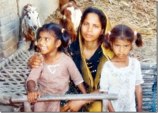 Asia Bibi MOTHER OF FIVE WITH TWO OF HER CHILDREN