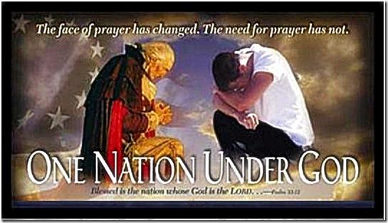 G Washington & American Praying, Flag & Under God
