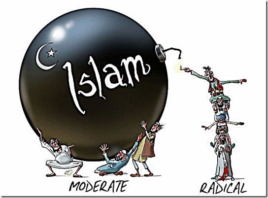 Moderates hold Islam bomb - Radicals lite Fuse