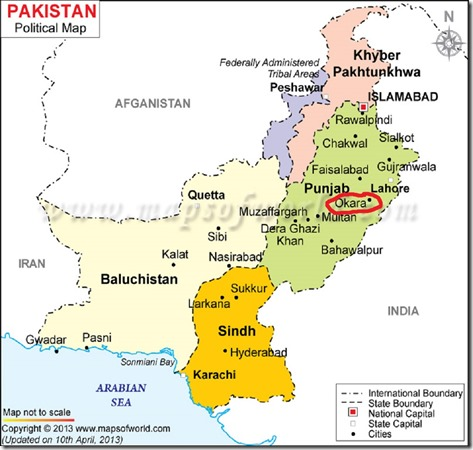 Pakistan Political Map Okara Circled
