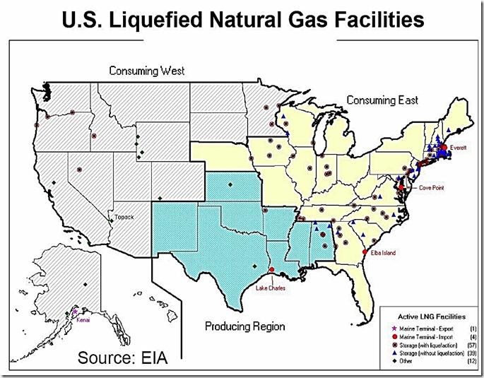 Active LNG Facilities USA map