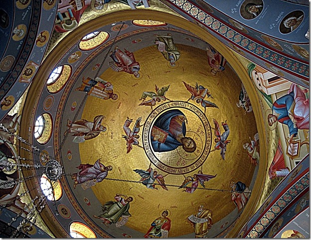 Ceiling Fresco - Jesus surrounded by angels and apostles - Holy Land