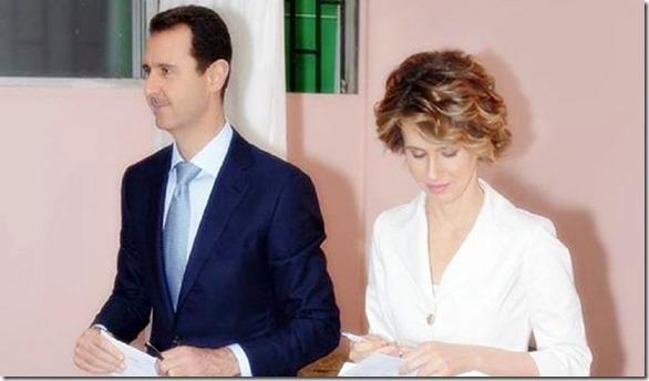 Bashar & Asma Assad voting 6-3-14