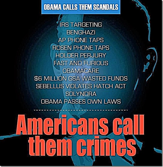 BHO calls scandals - Americans Call Crimes