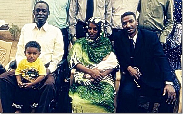 Daniel Wani, holding Martin - Meriam Ibrahim, holding Maya