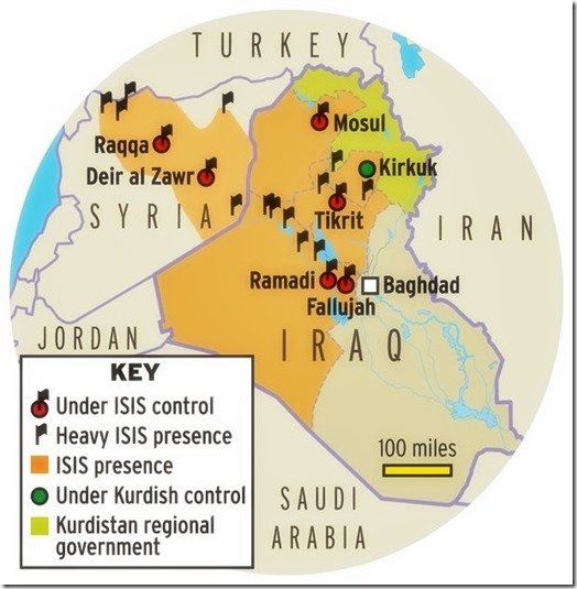 ISIS Controlled Land - Iraq & Syria Map