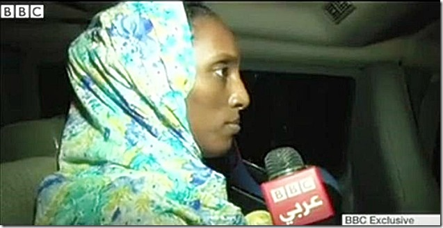 Meriam Ibrahim BBC interview just outside US Embassy Khartoum 6-27-14