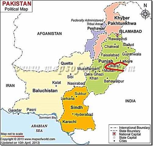 Punjab, Pakistan - focus on Okara City in red