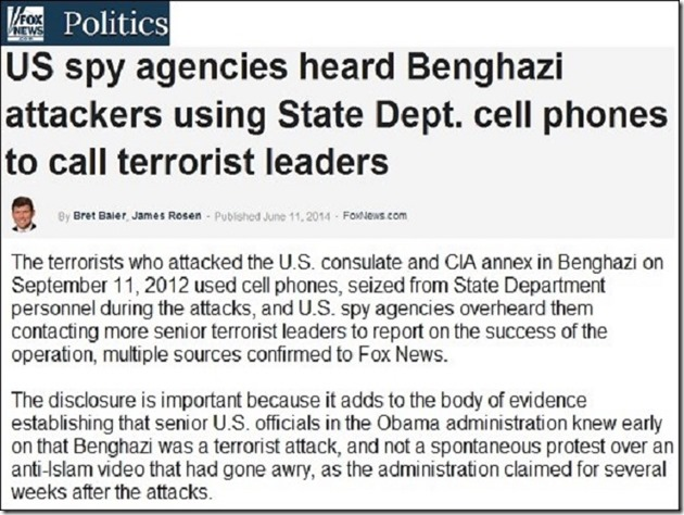 US Spy Agencies Here Benghazi Plans - Obama Lied