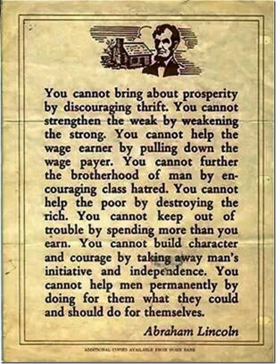 Lincoln quote on Prosperity. ht Diana