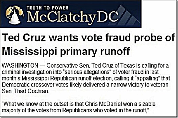 McClatchy article - T Cruz wants vote fraud probe... foto