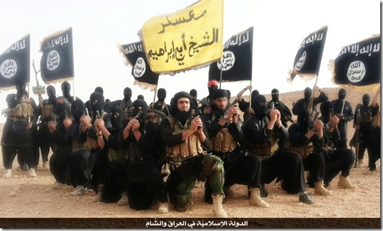 Gatestone foto of ISIS with flags