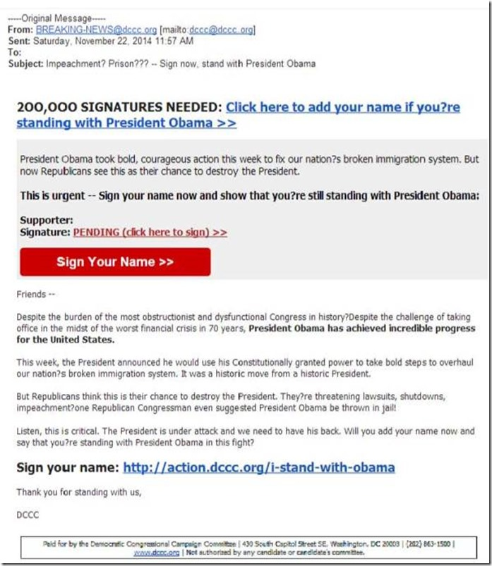 Democratic Congressional Campaign Committee Screenshot Photo - BHO Jail