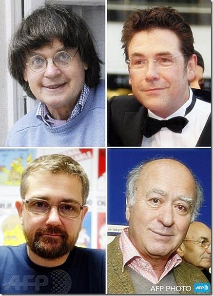 Left2Right- Jean Cabut, Bernard Verlhac (aka Tignous), Stéphane Charbonnier, Georges Wolinski