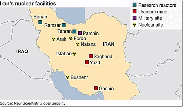 Iran Nuke Sites Map