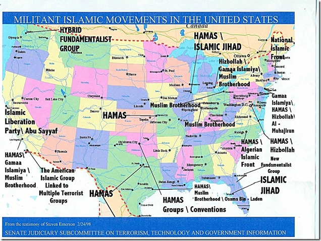 Islamic Terrorist Cells in the US Map